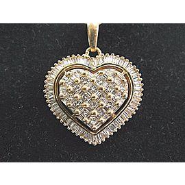 Fine Baguette & Princess Cut Diamond Heart Pendant Necklace YG 14KT 2.02Ct