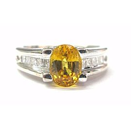 Natural Oval Yellow Sapphire Diamond White Gold Anniversary Ring 18Kt 2.36CT