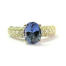 18Kt Natural Oval Tanzanite & Diamond Pave Yellow Gold Ring 3.11Ct