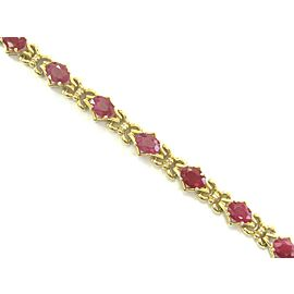 "Oval Ruby & Diamond Yellow Gold Tennis Bracelet 14Kt 8.25"" 12.00Ct"
