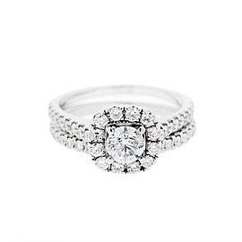 Neil Lane 14k White Gold Halo and Curved Diamond Engagement Ring and Band Set