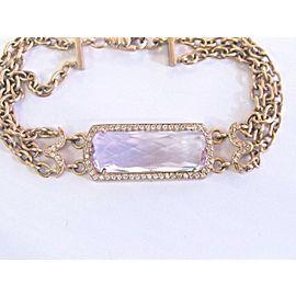 Fine Kunzite & Diamond Rose Gold 3-Row Bracelet 15.35Ct