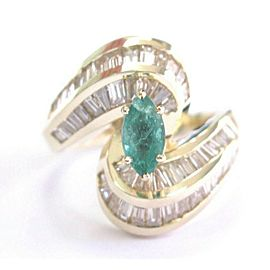 Marquise Colombian Green Emerald & Diamond Ring Solid 14Kt Yellow Gold 2.65Ct