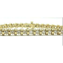 Round Cut NATURAL Diamond Tennis Bracelet SOLID Yellow Gold 4.50Ct 32-Stones
