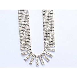 """Round Diamond LONG Riviera Solid White Gold Necklace 1104-Stones 105Ct 38"""" 18KT"""