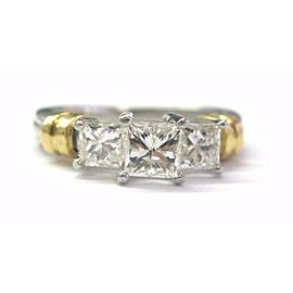 Platinum / 18Kt 3-Stone Princess Cut Diamond Engagement