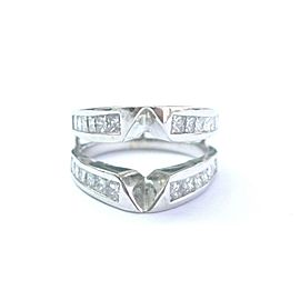 Fine Princess Cut Diamond White Gold Jacket Ring 1.10Ct