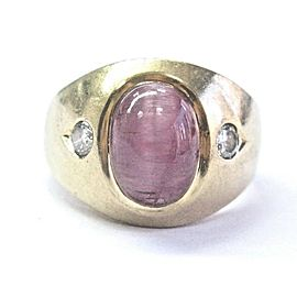Fine Cat's Eye Tourmaline & Diamond Yellow Gold Jewelry Ring 14KT 5.30Ct