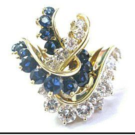 Ceylon Sapphire & Diamond Yellow Gold Overlapping Jewelry Ring 2.81Ct 14KT