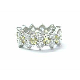 Platinum Diamond & Yellow Sapphire Eternity Band Jewelry Ring 4.65Ct Size 6.25