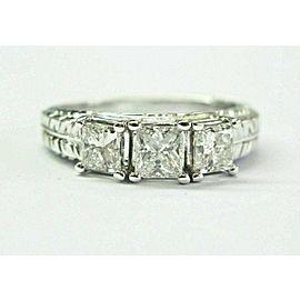 Princess Cut Diamond Three Stone White Gold Milgrain Engagement Ring 1.20Ct 14KT