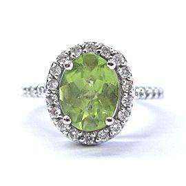 Fine Gem Peridot & Diamond White Gold Halo Jewelry Ring 14KT 2.28Ct