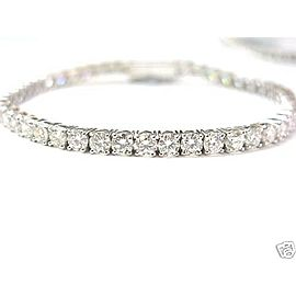 SOLID 18KT NATURAL Round Brilliant Diamond Tennis Bracelet Whtie Gold 9.34ct