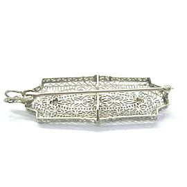 Vintage Old European Cut Diamond 3-Stone White Gold Pin / Brooch / Pendant .20CT
