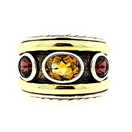 David Yurman Sterling Silver 14k Gold Renaissance Citrine Garnet Ring Band 8.75