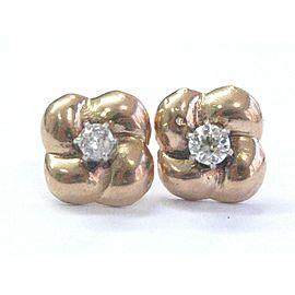 Fine Old European Cut Diamond Rose Gold Stud Earrings 14Kt .40CT