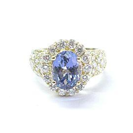 18Kt NATURAL Gem Tanzanite & Diamond SOLID Yellow Gold Jewelry Ring 5.12Ct