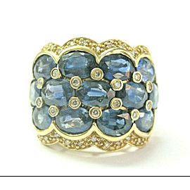 Blue Sapphire & Diamond WIDE Ring 14Kt Yellow Gold 13.43Ct 21mm SIZEABLE
