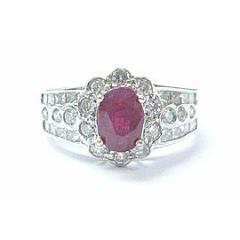 18Kt Gem Ruby & Diamond Anniversary White Gold Jewelry Ring 1.54Ct