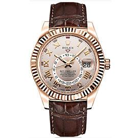 Rolex Sky-Dweller 326135 Men's Sunburst Roman Rose Gold 42mm 1 Year Warranty