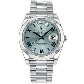 Rolex Day-Date II 228206 Men's Blue Platinum 40mm Automatic 1 Year Warranty