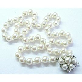 "Pearl Diamond Riviera Cluster Solid White Gold Necklace 14KT 7.6mm-8mm 20"" .30CT"