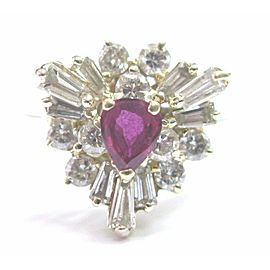 Natural Ruby & Diamond Yellow Gold Jewelry Ring 14Kt 1.40Ct