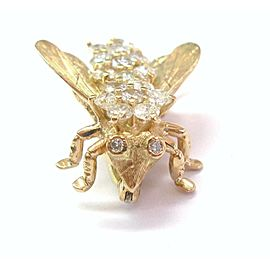"Bee Diamond Solid 14KT Yellow Gold Pin / Brooch H/VS2-SI2 1"" x 1"" 2.02Ct"