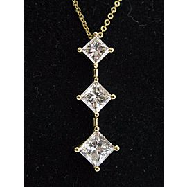 "Natural Princess Cut Diamond 3-Stone Pendant Necklace 18KT Yellow Gold 18"" 2.03C"
