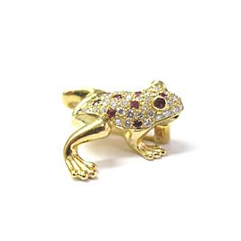 Fine 18Kt Gem Ruby Diamond Yellow Gold Frog Pin/Brooch