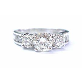 Fine Round Cut Diamond Three Stone White Gold Engagement Ring 2.21Ct