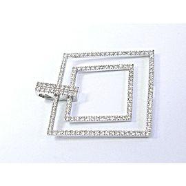 18Kt NINI COLLECTION Round Cut Diamond Square White Gold Pendant 2.75Ct