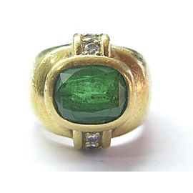 Natural Oval Tsavorite Diamond Solid Yellow Gold Jewelry Ring 18Kt 3.18Ct F-VS