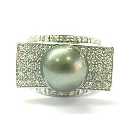 Tahitian Pearl & Diamond Ring 18Kt White Gold 11.3mm .58Ct