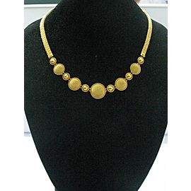 22KT HANDMADE Necklace Circular Solid Yellow Gold Greek Designer 42.9 G 16.5""