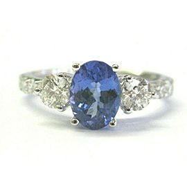 Oval Tanzanite & Round Diamond Three Stone Ring 14Kt White Gold 1.74Ct AAAA/VS