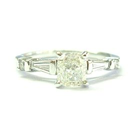 Cushion Diamond Solitaire & Side Baguette White Gold Engagement Ring 14Kt .85Ct