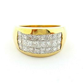 18KT Yellow Gold Eternity Princess Brilliant Cut Diamonds Band Ring 1.26ct