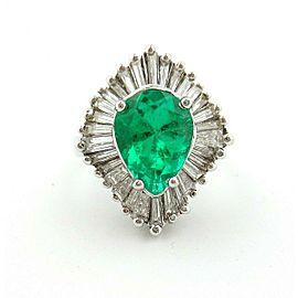 18KT White Gold Ballerina Emerald Pear Shape Cut & Baguette Diamonds Ring 5.40ct