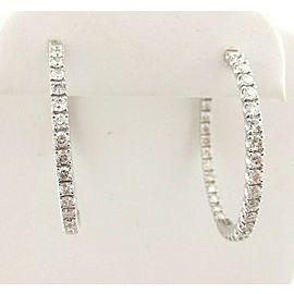 White Gold 14KT 2.5mm Hoop Huggie Round Brilliant Cut Diamonds Earrings 2.90ct