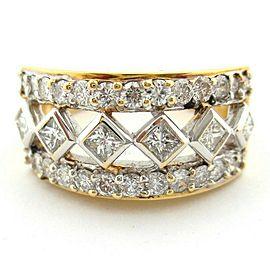 Fine 18KT Yellow Gold Round Brilliant Princess Cut Diamond Ring Victorian 1.20ct