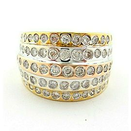 Fine 5-Row Multi Tone - Yellow Rose White Gold Round Diamond Bubble Ring 1.38ct