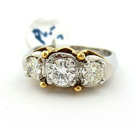 Fine Platinum & Yellow Gold 3 Three Stone Round Diamonds Engagement Ring 0.70ct
