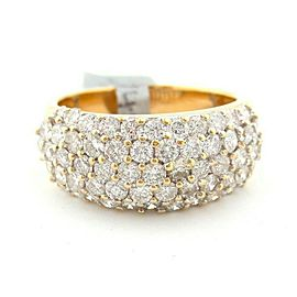 Fine Yellow Gold 5-Row Half Circle Round Brilliant Diamond Pave Ring Band 2.60Ct