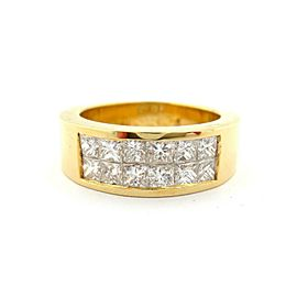 Fine 18Kt Yellow Gold Brilliant Princess Diamond Channel Set Ring Band 1.44Ct