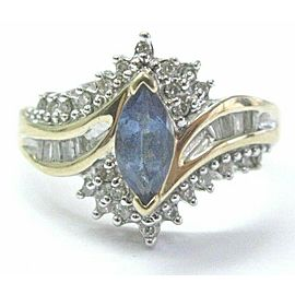 Natural Marquise Sapphire & Diamond Yellow Gold Jewelry Ring 14Kt 1.05Ct