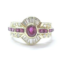 18Kt Gem Ruby Diamond Multi Shape Jewelry Ring Yellow Gold 1.33CT