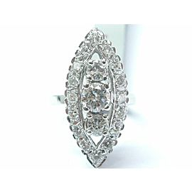 Fine Vintage Round Cut Diamond Three Stone White Gold Jewelry Ring 2.22CT 14Kt