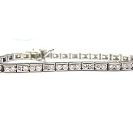Round Cut NATURAL Diamond White Gold Channel Set Tennis Bracelet 14KT 4.50CT