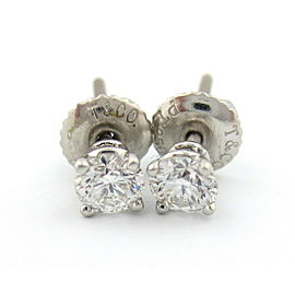 TIFFANY & CO PLATINUM ROUND DIAMOND STUD EARRINGS .46CTW F VVS1 $4,800